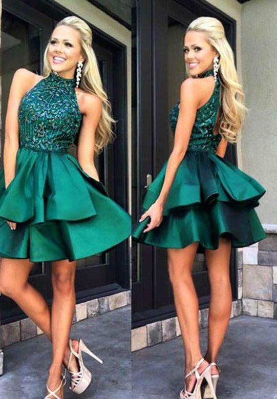 Emerald Green Prom Dress,Short Prom Dress,Freshmen Homecoming Dress,Graduation Dress,MA087