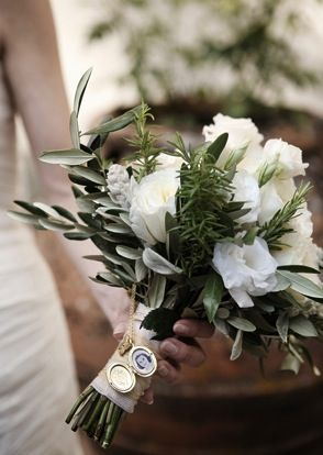 olive leaves, rosemary, and fluffy white flowers