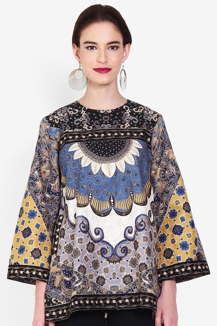 Batik Arjuna Weda Blouse Batik Sinaran 4 Biru