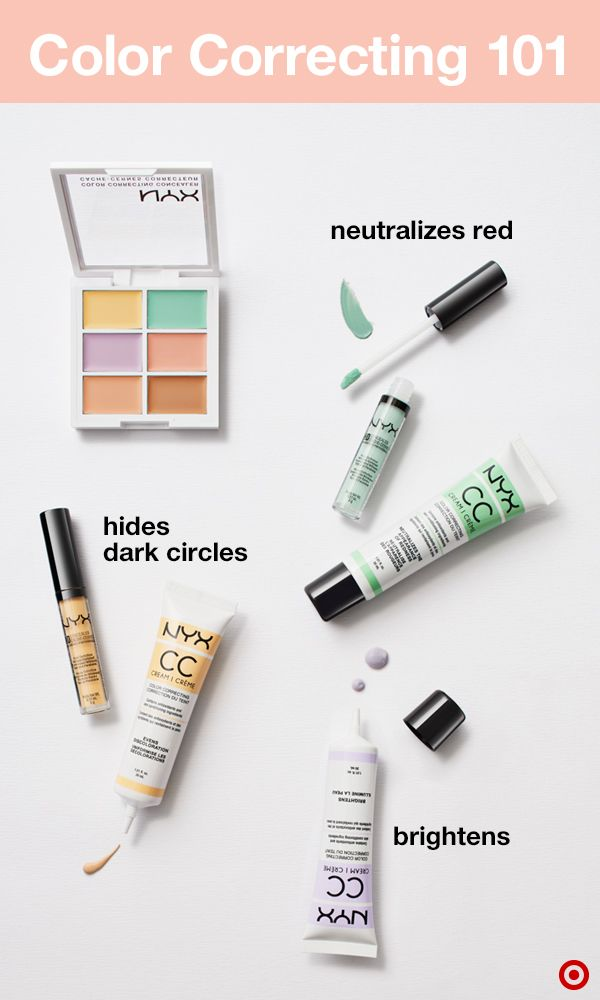 Color correcting is your new first step to flawless skin. It evens your complexion and camouflages imperfections—and NYX has everything you need. Use green to cancel out redness (like blemishes), pink to neutralize under-eye circles on light skin or orange for darker skin, purple to brighten dull or sallow skin, and yellow to hide bluish dark circles. Just apply, blend, & finish with foundation.