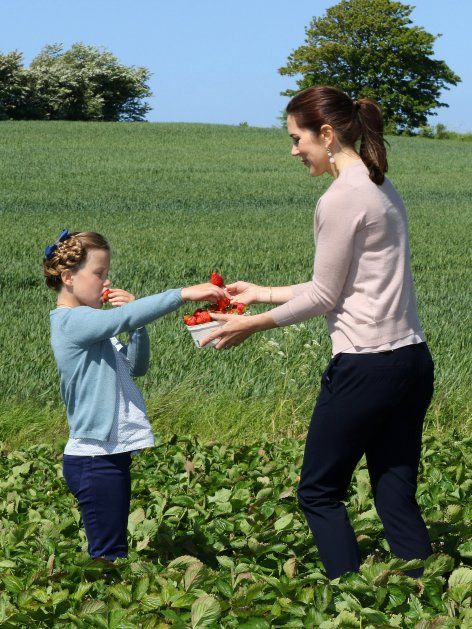 Picking Strawberries CP Mary and her daugher Isabella