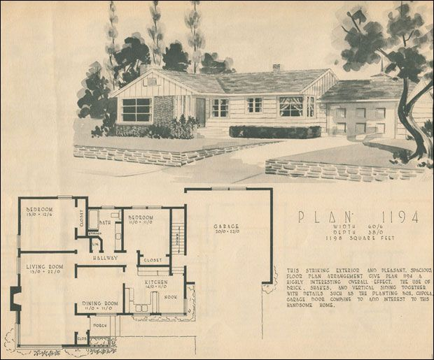 1950 home building plan service vintage home fashion for Mid century ranch home plans