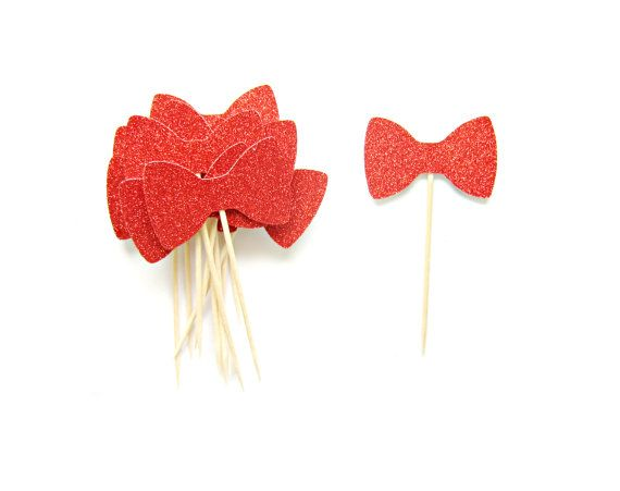 Red Glitter Bowtie Cupcake Toppers 1st Birthday by Pelemele