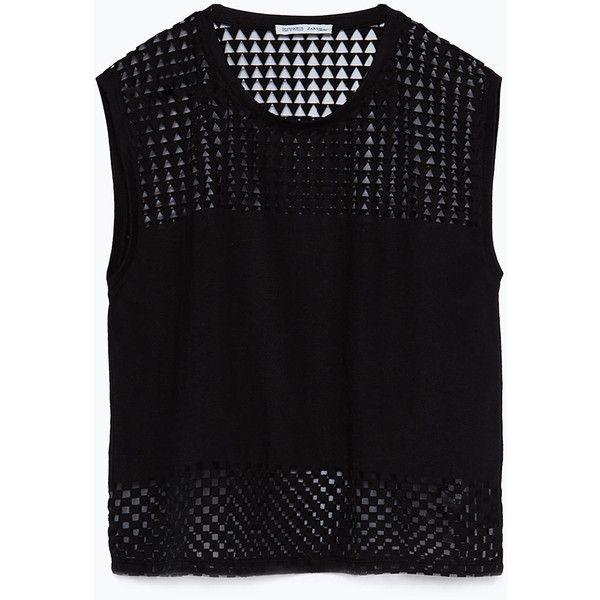 Zara Devoré T-Shirt ($26) ❤ liked on Polyvore featuring tops, t-shirts, shirts, tank tops, black, black t shirt, black shirt, zara top, t shirts and black top