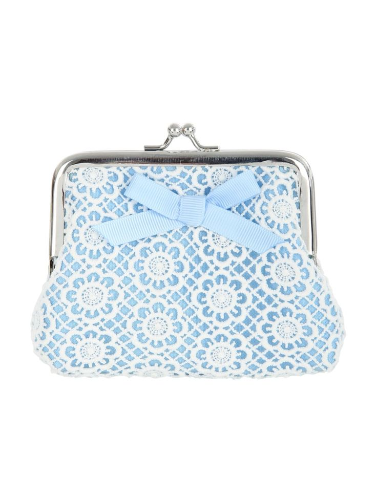 Make a cute addition to you accessory collection with this women's mid blue crochet bow purse. Featuring a clip frame crochet design and pretty bow, this pur...