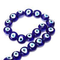 1 Strand 16 мм 20 мм турецкий дурного глаза синие шарики стекло DIY бусы ювелирных изделий Компоненты решений