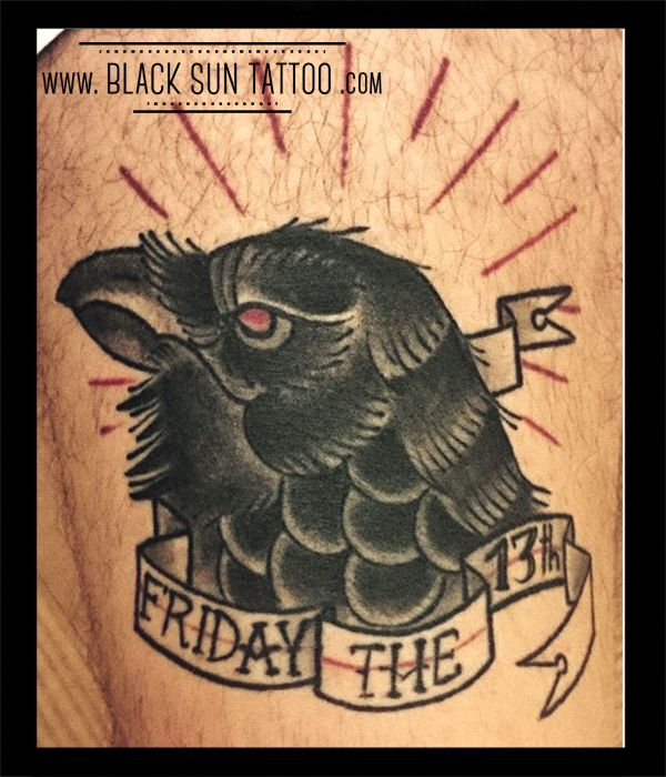 Tattoo by Black Sun Tattoo, Warsaw , Poland #oldschooltattoo #raventattoo #ravenhead #ravenheadtattoo #friday #friday13 #lucky13 #friday13tattoo #13tattoo #raven #neotraditional #blacsuntattoo