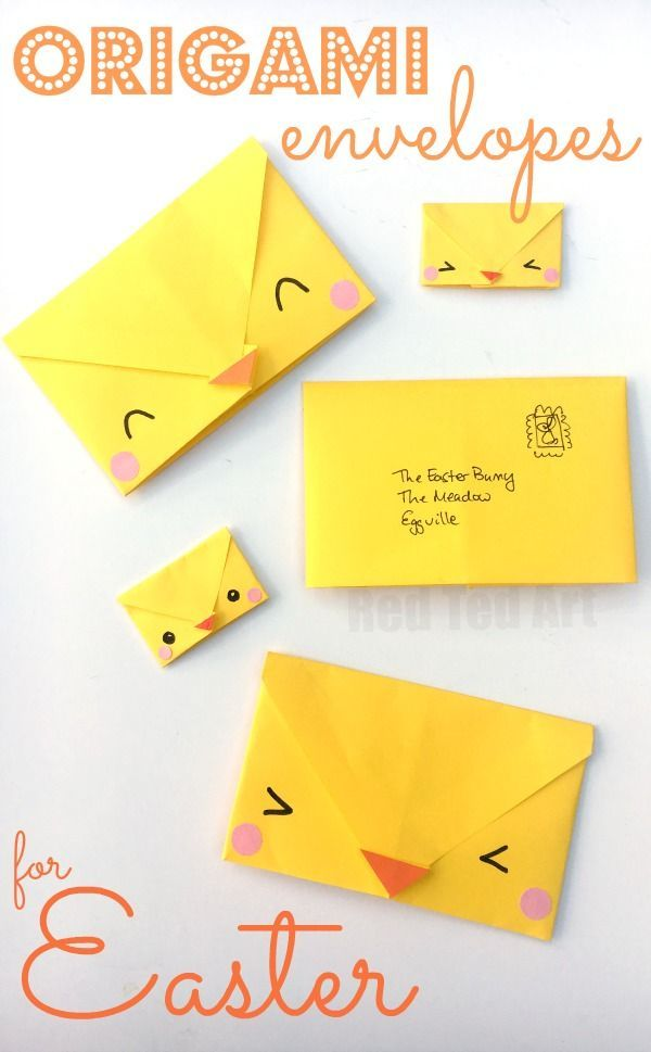 Origami Envelope Chick - Paper Crafts for Kids! This is such a cute and easy origami project for kids. And practical too. Write your letter, fold your envelope, decorate and send. Perfect for writing too (or from) the Easter bunny. A cute and easy origami