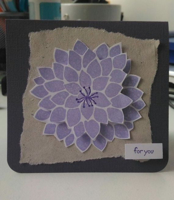 DAHLIA: a card suited to any occasion. Available in purple on purple, red on black or pink on black.  Measurements: ~ 4 x 4 inches  NOTE: use coupon