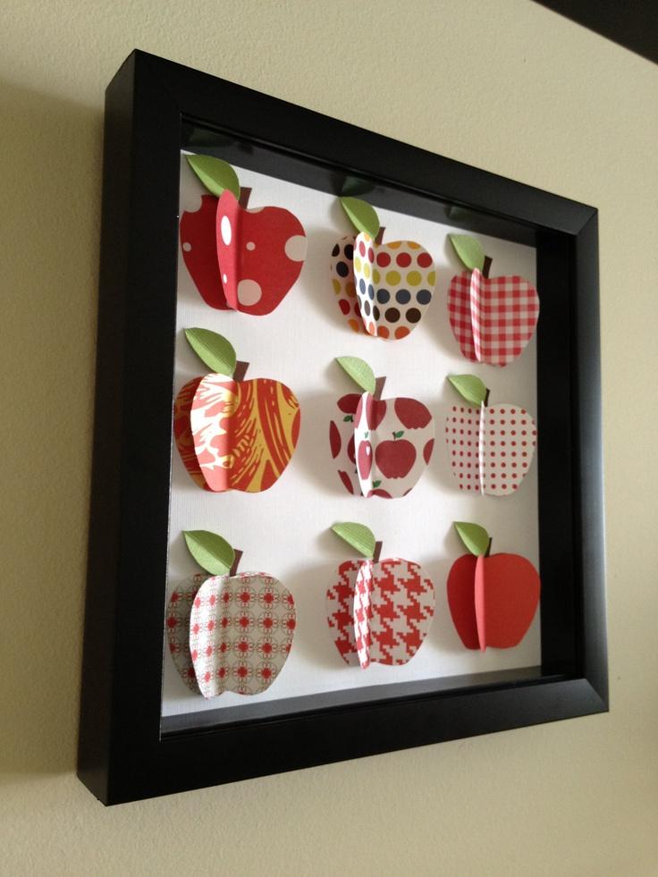 Red Apples, 3D paper art. $35.00, via Etsy.