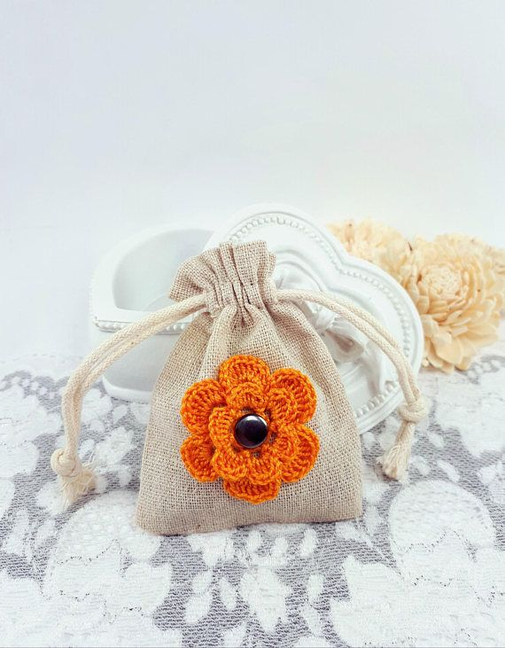Beige fabric pouch small jewelry pouch flower gift pouch