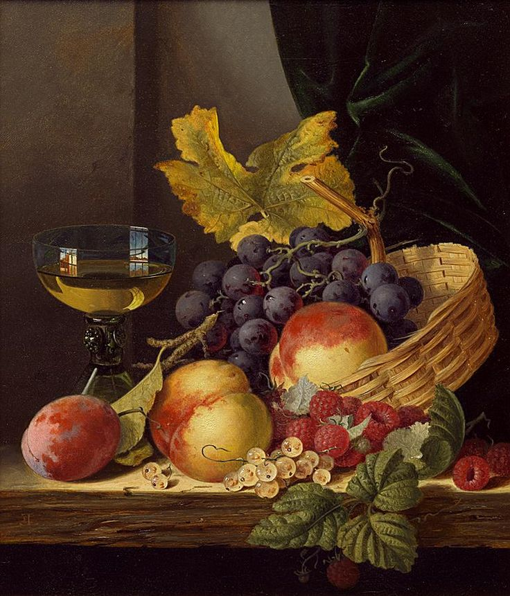 Edward Ladell - A basket of peaches and grapes with raspberries and a roemer on a wooden ledge