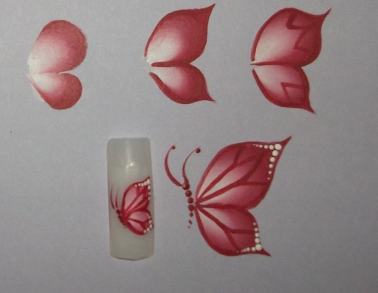 One Stroke Painting: Two types of butterflies for nails