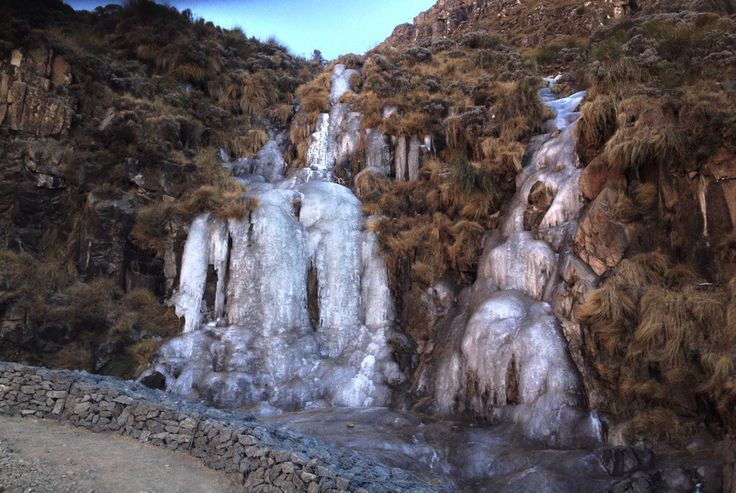 Frozen waterfall at Sani Pass, between the South African and Lesotho border posts