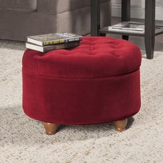 Adeco Fabric Round Storage Ottoman   Overstock.com Shopping - The Best Deals on Ottomans