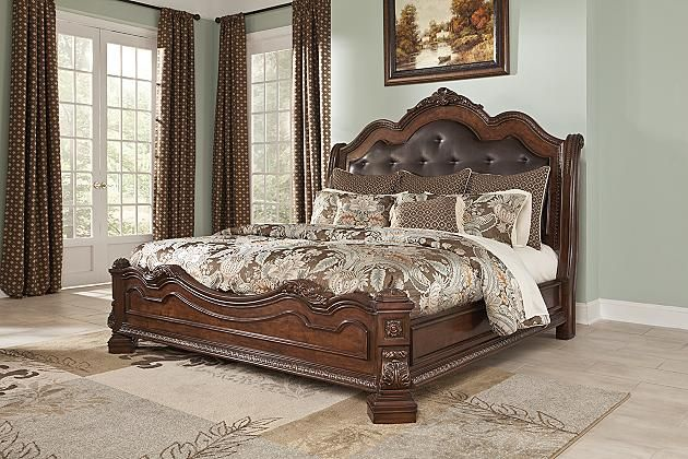 Brown Ledelle California King Sleigh Bed View 1