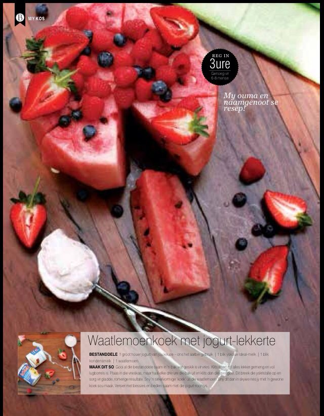 Watermelon no bake cake with yogurt ice cream - food shoot