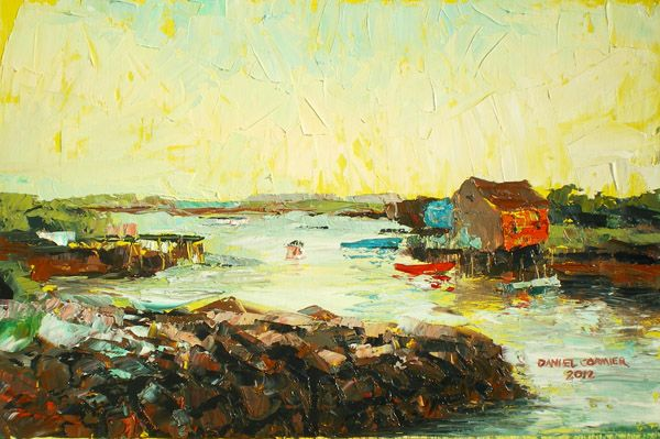 Prospect at Sunset (2012) 13x9 Oil on board by Daniel Cormier Another late evening in Prospect, NS. This is a rare breakaway piece in my beach-house series gambling with traditional plein-air landscape. Working only with the palette knife I try to develop rich points of color and capture a nostalgic feel for this familiar cove.