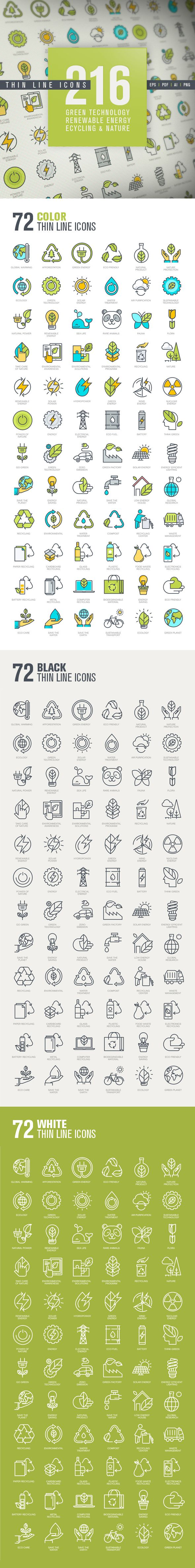 Set of Thin Line Icons for Green Technology on Behance