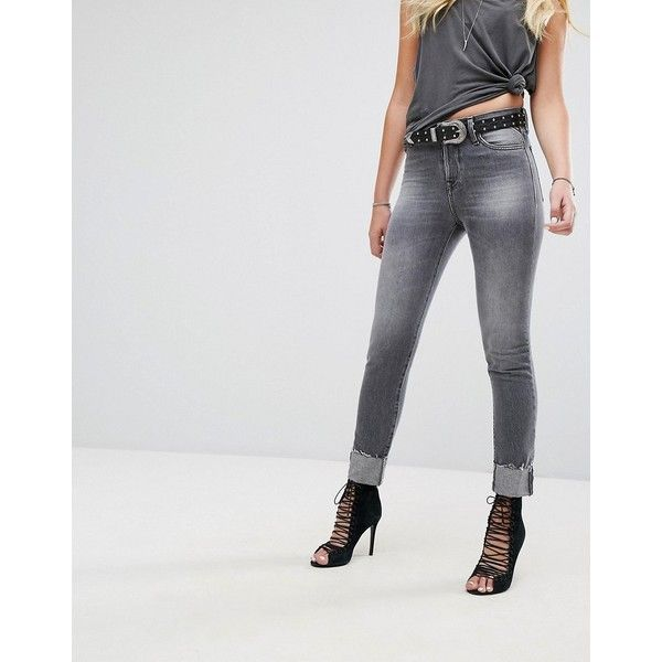 Replay Maddiespa Frayed Hem Cropped Slim Jean ($190) ❤ liked on Polyvore featuring jeans, grey, cuffed skinny jeans, leather skinny jeans, destroyed jeans, cropped skinny jeans and destructed skinny jeans