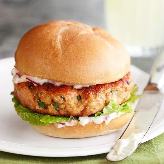 Salmon is coated in a spiced mixture of panko bread crumbs to create a Salmon Burger that sizzles. More fish recipes: http://www.bhg.com/recipes/fish/30-minutes-less/20-quick-easy-seafood-recipes #myplate #fish