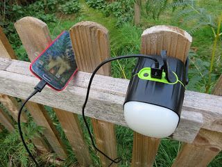 Gadget Girl Reviews: @Wolfwill rechargeable LED Camping Light, speaker and 8000mAh powerbank Review. Charging outside.