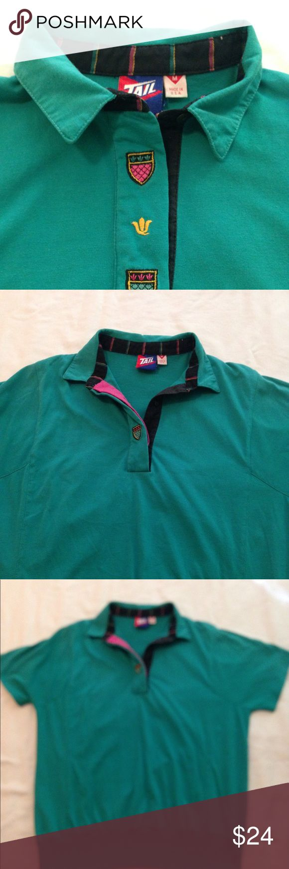 "Vintage Tail Ladies Tennis Golf Shirt Sz M 80's Vintage Tail Ladies Tennis Golf Shirt Sz M 80's in good preowned condition. Armpit to armpit 19"", Made in USA. Great retro shirt! Tail Tops"