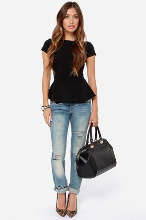 Black Peplum Top - Short Sleeve Top - Cute Black Shirt - $29.00