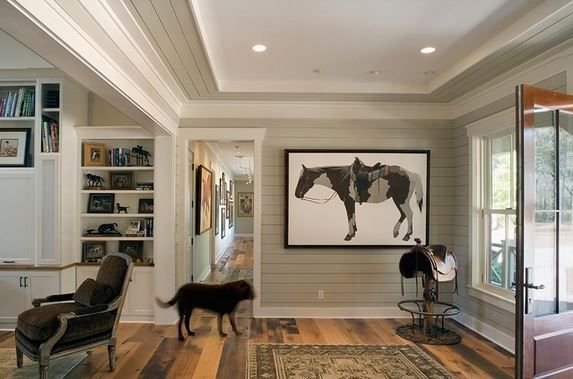 shiplap siding on interior walls, via houzz. FLOORS!, walls, trim, door, art.