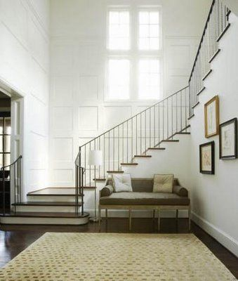 Elegant Stair Runners | absolutely love the panel work in this foyer. It's gorgeous and ...