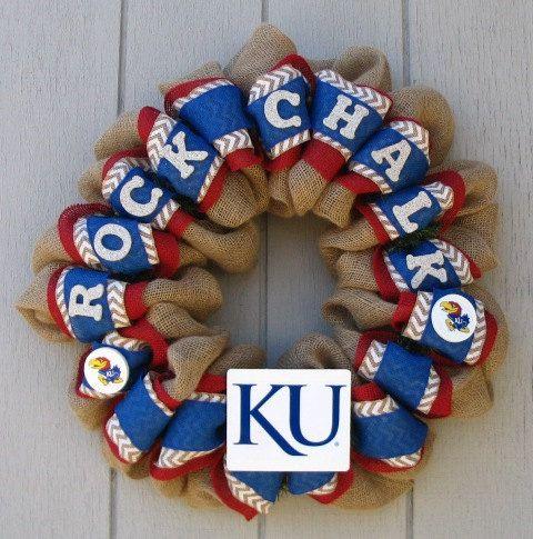 Kansas University Burlap Rock Chalk Jayhawk KU wreath, wall or door decor on Etsy, $60.00
