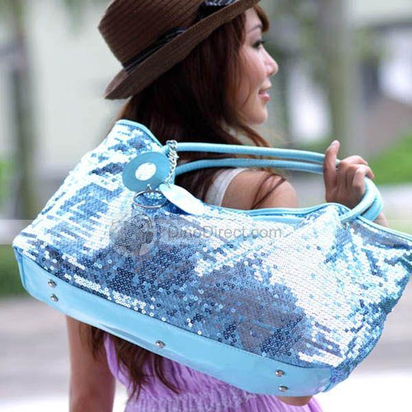 Osa Stylish Paillette Solid Large Size Zipper PU Woman Handbags
