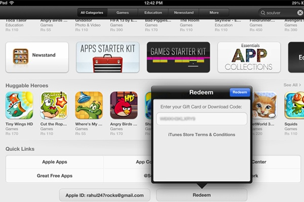 How to use Redeem Codes on the new iPad App Store http