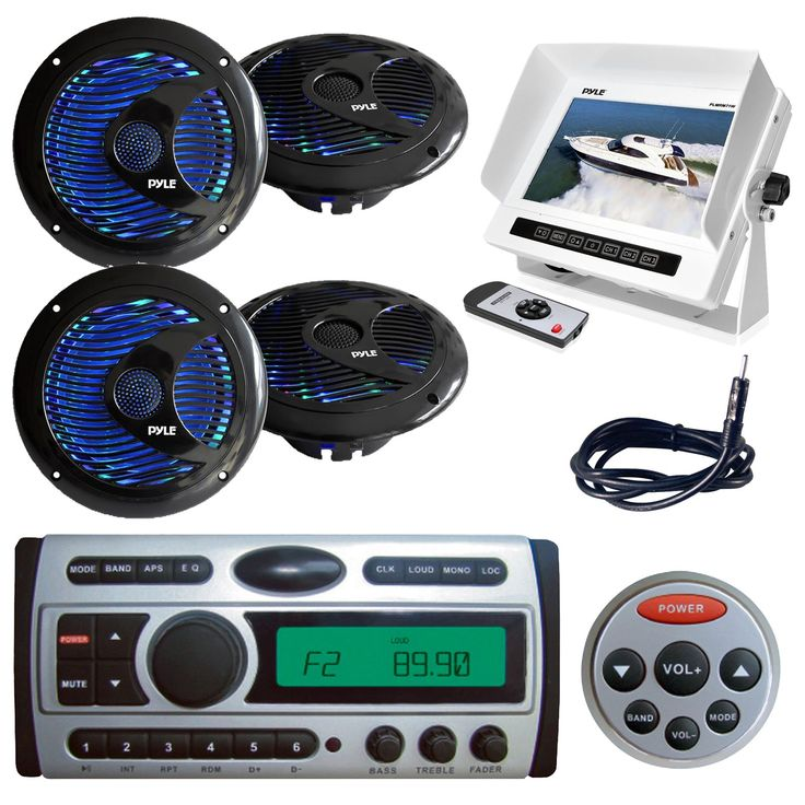 "New PLDMR87 1.5-Din Marine Waterproof AM/FM CD/DVD/MP3 Radio Receiver + Remote 4 X Pyle 6.5"" Inch LED Light Marine Speakers PLMRM71W Hydra Series Marine Water Resistant 7-Inch LCD Monitor (Black)"