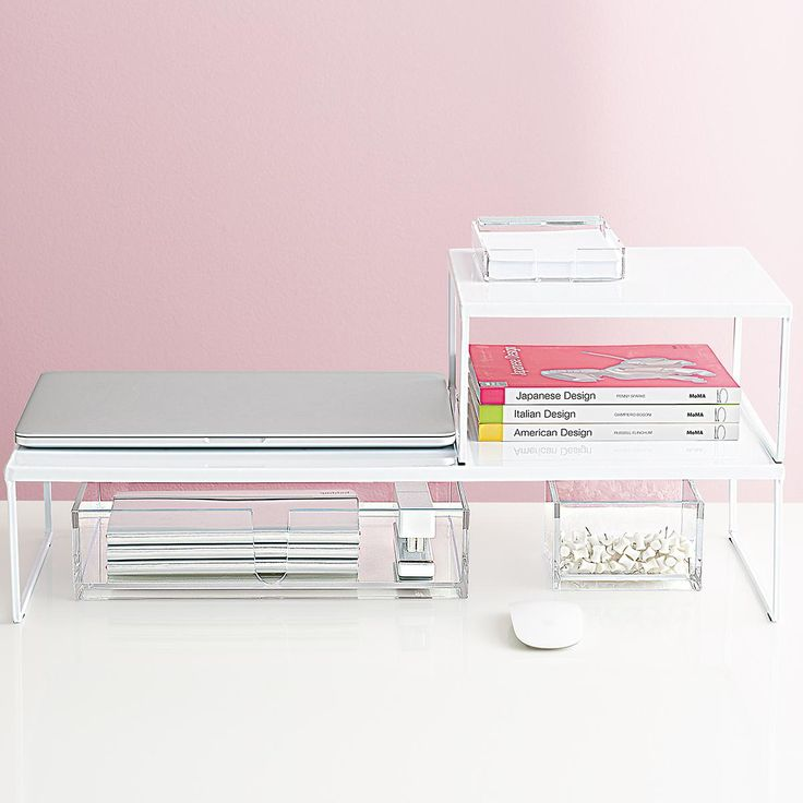 Made of strong steel with a smooth white paint coating, this modern Franklin Desk Riser can be used to either maximize desk space, shelf space or under counter space depending on your needs. Its clean design doubles as a monitor stand, allowing you more room for work space and raising your monitor to eye level for greater comfort.