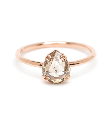 Pear Shape Rose Cut Champagne Diamond Bohemian Engagement Ring