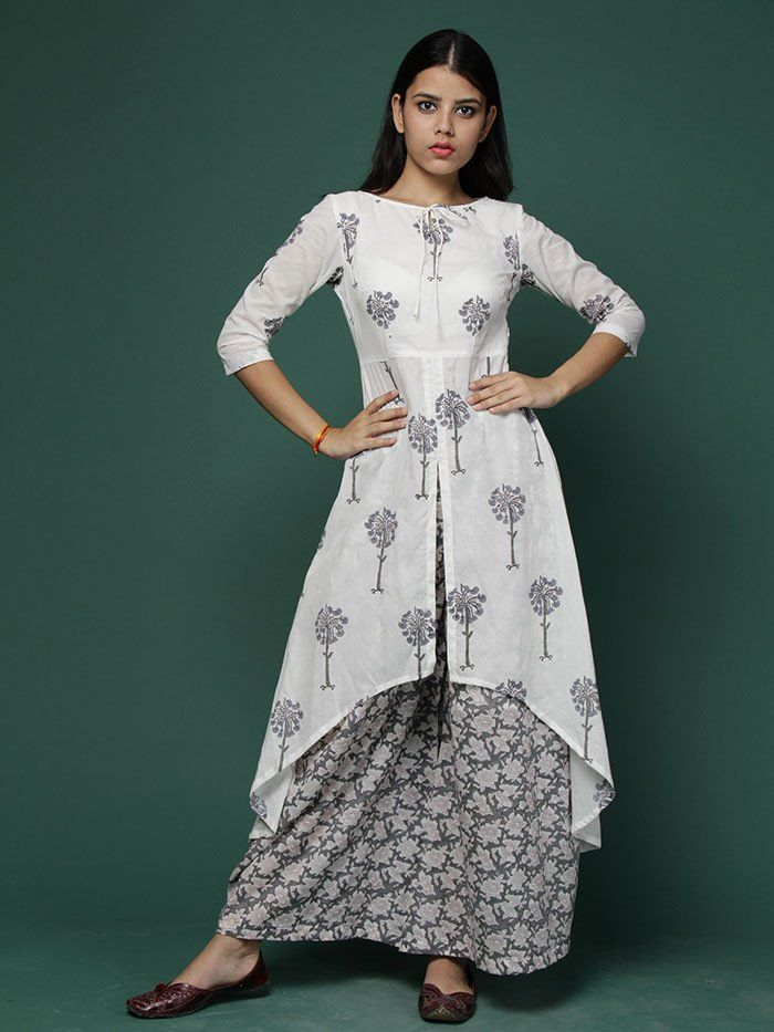 Off White Grey Cape Kurta with Grey Wide Leg Pants - Set of 2