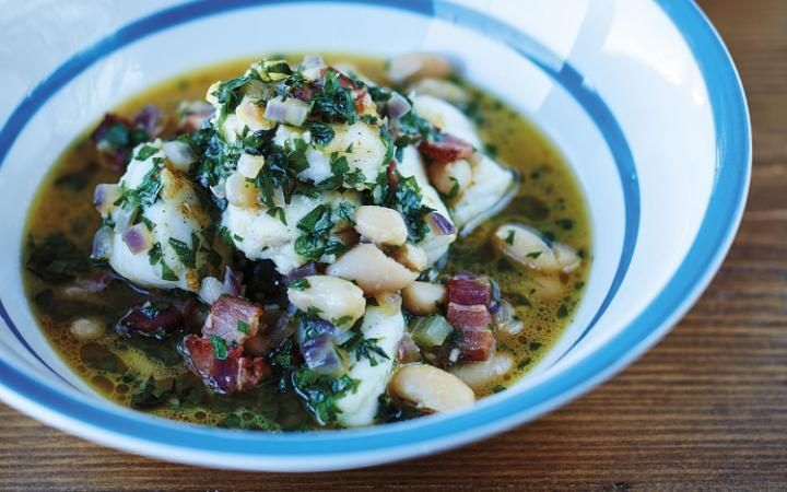 Monkfish bean and bacon stew
