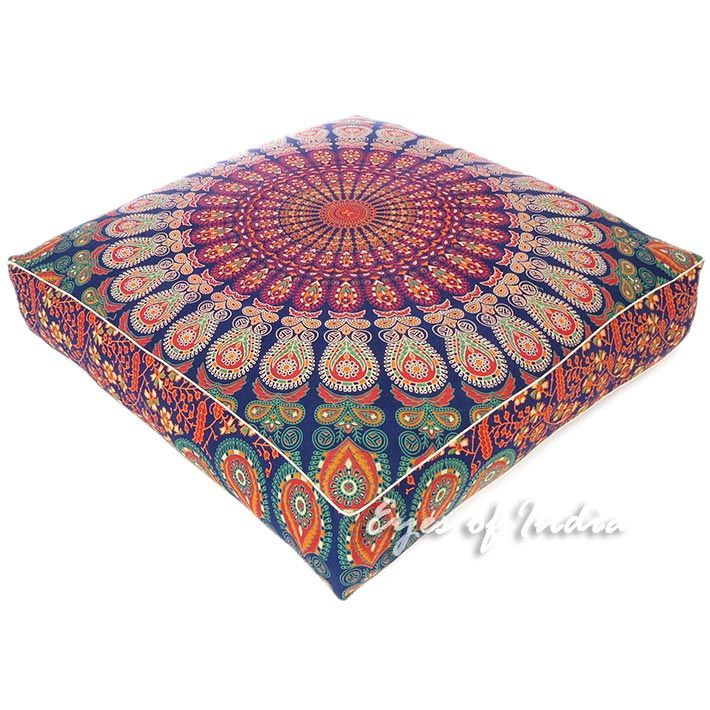 Large Red Bohemian Cushion Pillow Cover Mandala Floor Pillows