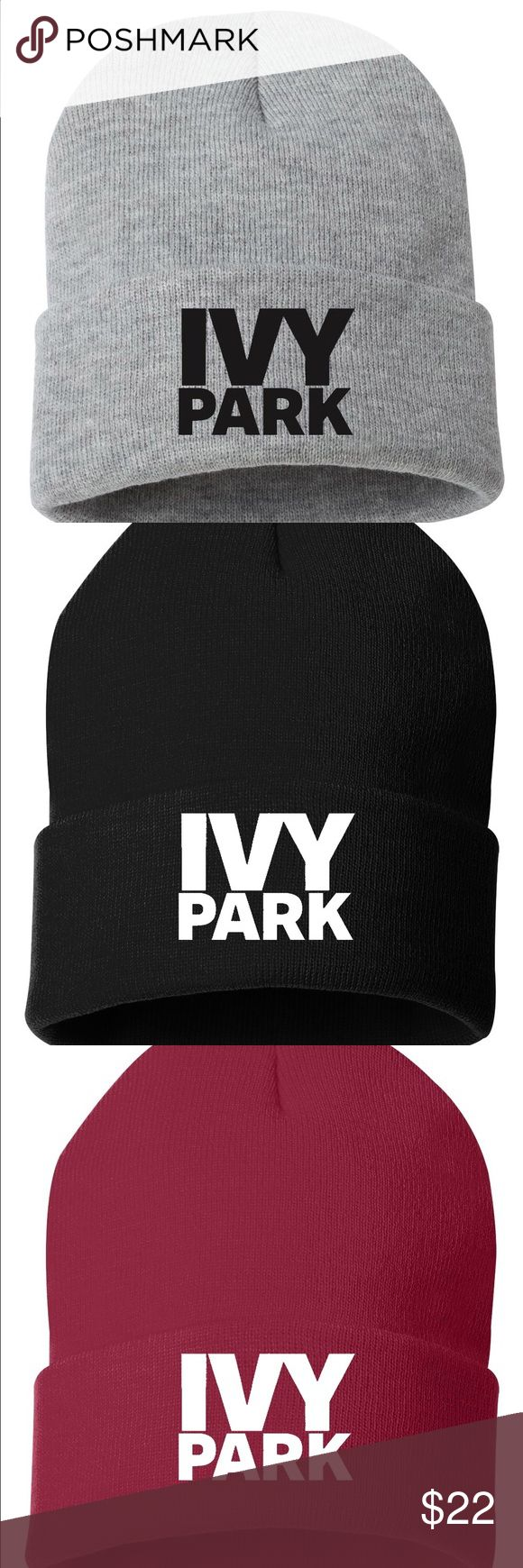 "Ivy Park Beanie Beanie Beyoncé Ribbed Thermal Hat Material: 100% Cotton  Size: One Size  Features: ribbed stretchy fabric made of 100% cotton wide cuff with Ivy Park logo at the front lined interior with same ribbed fabric, making it a double layer approx. dimensions, measured laying flat: 8.5"" L x 10.5"" H Accessories Hats"