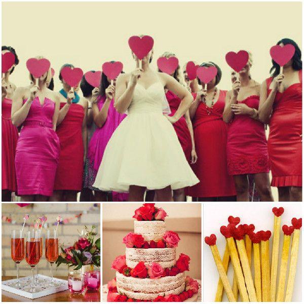Pink Rot Valentinstag Hochzeit Ideen Herz Liebe Hochzeiten Brautjungfer Hochzeitstorten und Deko Pink & Rot Valentinstag Hochzeit Ideen | Herz Liebe Hochzeiten