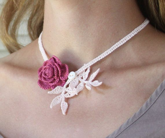 Raspberry Rose Crocheted Necklace with Baby Pink Leaves