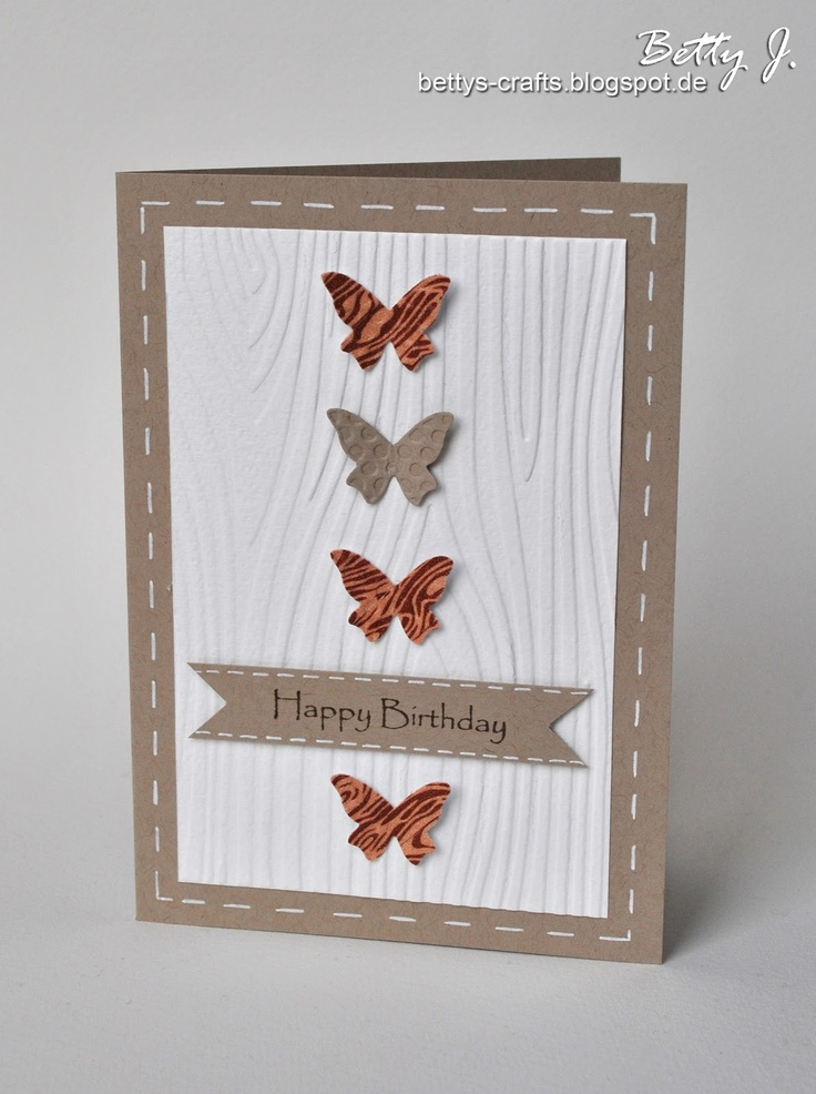 Bettys Handwerke: Happy Birthday - die vierte (2012) The three butterflies are paper covered in Washi tape, then  punched out. TOO CUTE.
