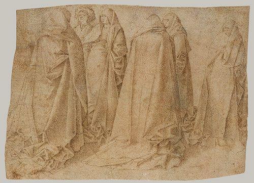 Group of Draped Figures  Antonello da Messina(?) (Antonello di Giovanni d'Antonio) (Italian, Sicilian, ca. 1430–1479)  Tip of the brush (or fine pen?) and brown ink