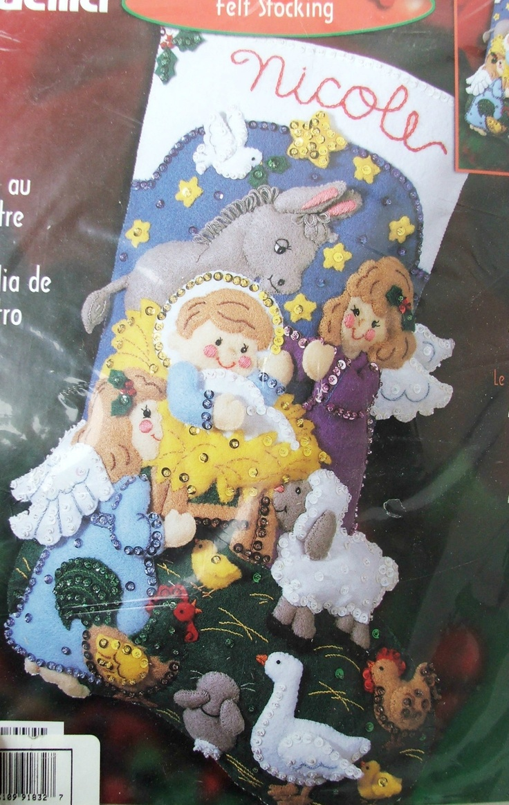 Nip Bucilla Baby Jesus Christmas Felt Stocking Kit Angel