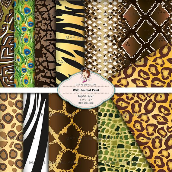 Animal Digital Paper Pack 12x12 Wild Animal Print Scrapbook Printable Leopord Giraffe Tiger African Background Papers Print Your Own 10193. $5.30, via Etsy.