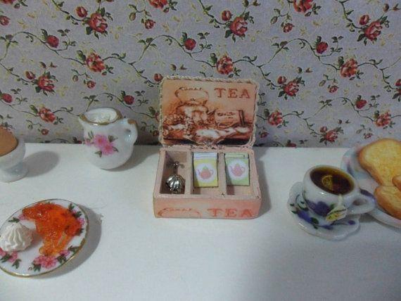 Dollhouse caja de té sobres de té colador de té Esc por MINNIANNA
