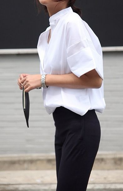 This black and white ensemble was made for a casual day at work.