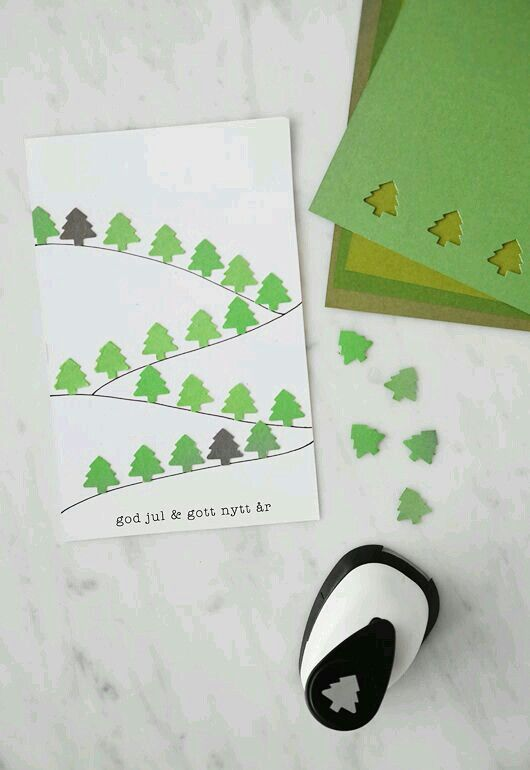 Kuusia joulukortissa