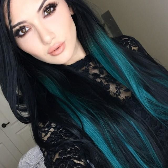 Dark turquoise and black hair